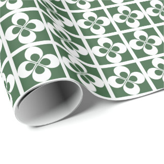 White Geometric Floral on Hunter Green Gift Wrap