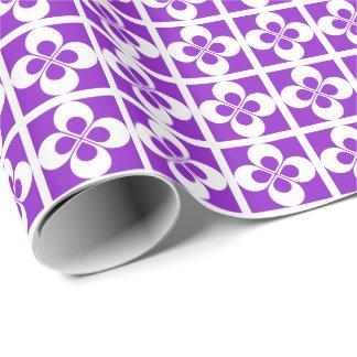 White Geometric Floral on Purple Gift Wrap