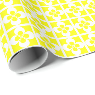 White Geometric Floral on Yellow Wrapping Paper