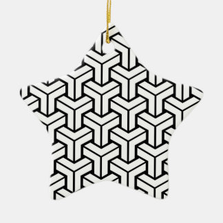 White Geometric Pattern Ceramic Star Decoration