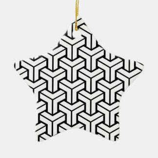 White Geometric Pattern Christmas Ornament
