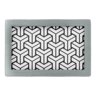 White Geometric Pattern Rectangular Belt Buckle
