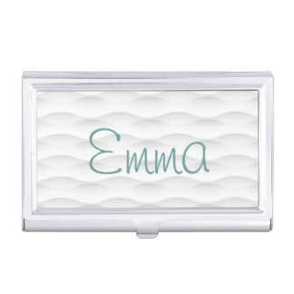 White Geometric Shadowed Background Business Card Holder