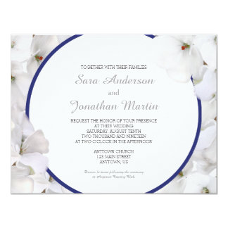 White Geranium & Navy Blue Wedding 11 Cm X 14 Cm Invitation Card