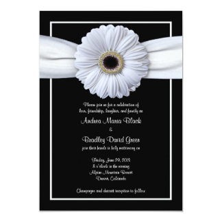 White Gerbera Black Background Wedding Invitation