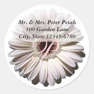 White Gerbera Daisy Address Classic Round Sticker