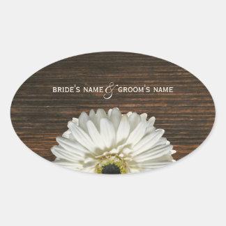 White Gerbera Daisy & Barnwood Wedding Sticker
