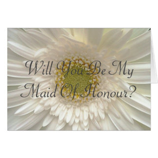 White Gerbera Daisy Maid Of Honour Request Card