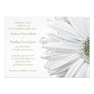 White Gerbera Daisy Wedding Invitation