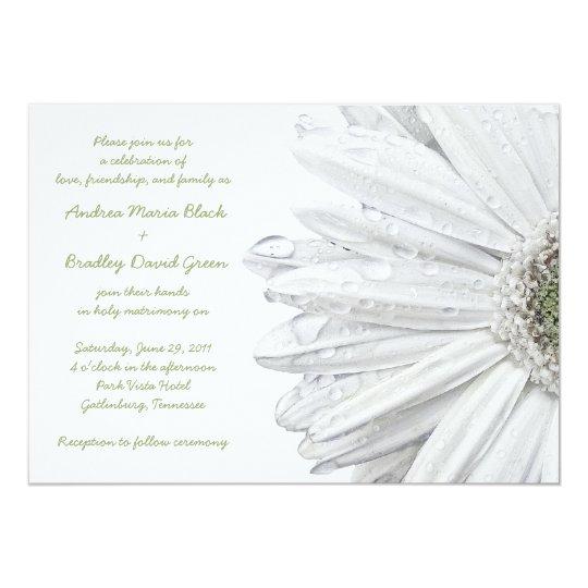 White Daisy Heart Wedding Invitation: White Gerbera Daisy Wedding Invitation