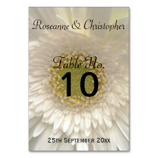 White Gerbera Daisy Wedding Table Setting Table Cards