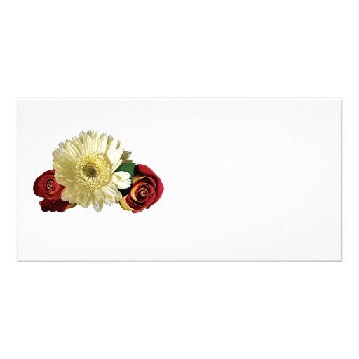 White Gerbera Daisy with Rosebuds Customized Photo Card