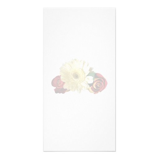 White Gerbera Daisy with Rosebuds Personalized Photo Card
