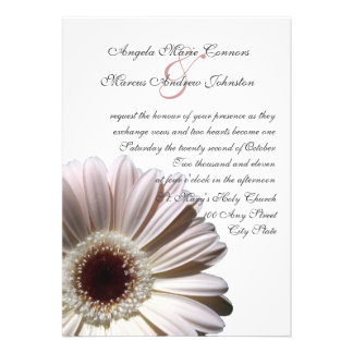 White Gerbera Wedding Daisy Invitations