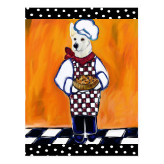WHITE GERMAN SHEPHERD CHEF POSTCARD