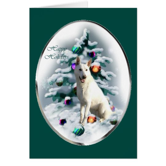 White German Shepherd Christmas Card