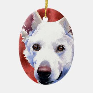 White German Shepherd Christmas Ornament