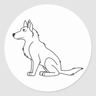 White German Shepherd Classic Round Sticker