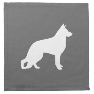 White German Shepherd Dog Silhouette Napkin