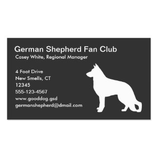 White German Shepherd Dog Silhouette on Grey Pack Of Standard Business Cards