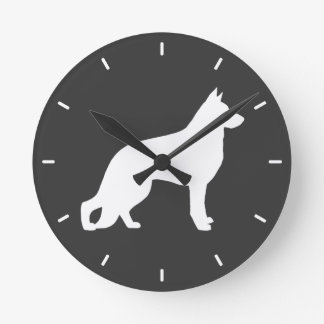 White German Shepherd Dog Silhouette Round Clock