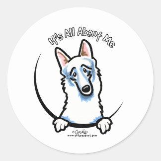White German Shepherd IAAM Round Sticker