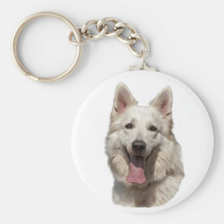 white german shepherd key chain