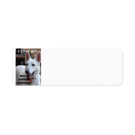 white german shepherd love w pic return address label