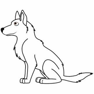 White German Shepherd Photo Sculpture Button