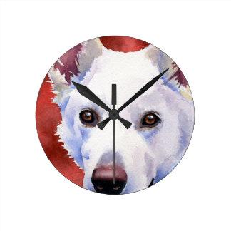 White German Shepherd Round Clock