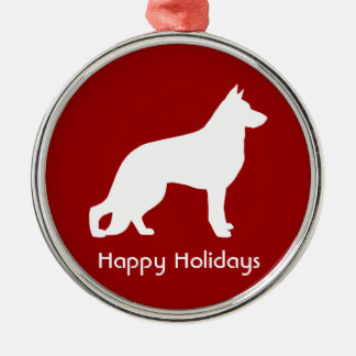 White German Shepherd Silhouette with Text Christmas Ornament
