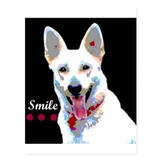 White German Shepherd Smile Postcard
