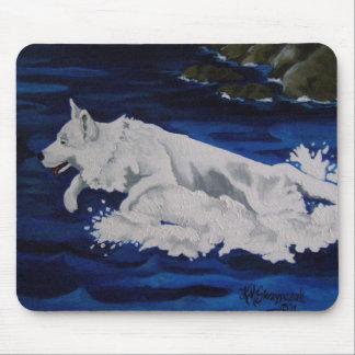 White German Shepherd Splash Mouse Pad