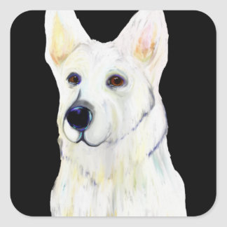 WHITE GERMAN SHEPHERD SQUARE STICKER