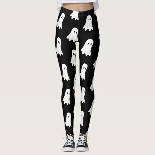 White Ghost, on Black Background. Leggings