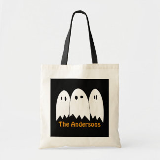 White ghost trio Halloween candy trick or treat Canvas Bags