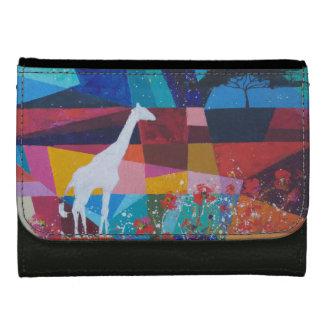 white giraffe AT poppy flield Leather Wallet For Women