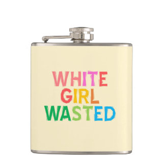 White Girl Wasted Flask- Colorful, funny Hip Flask