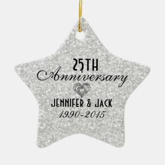 White Glitter 25th Wedding Anniversary Ornament
