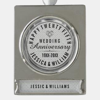 White Glitter 25th Wedding Anniversary Silver Plated Banner Ornament