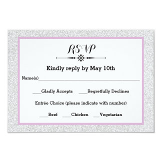 White Glitter and Lilac Frame- RSVP Response Card