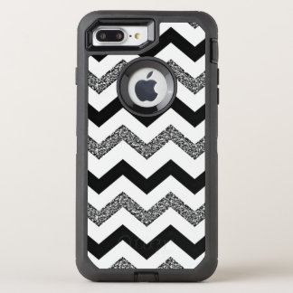 White Glitter Chevron iPhone 7 Plus Otterbox Case