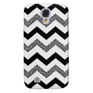 White Glitter Chevron Samsung Galaxy S4 Phone Case