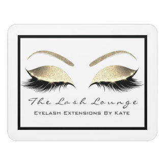 White Glitter Gold Beauty Salon Lashes Makeup Door Sign