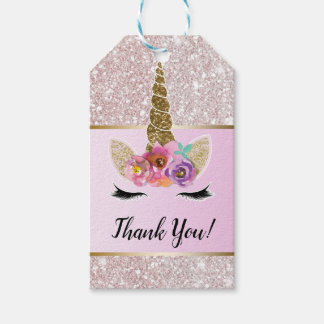 White Glitter Gold Glam Unicorn Floral Pink Party Gift Tags