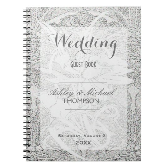 White Glitter Lace | Guest Book