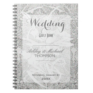 White Glitter Lace | Guest Book Note Book