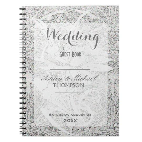 White Glitter Lace | Guest Book Spiral Notebook