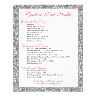 White Glitter Print Nails Menu List
