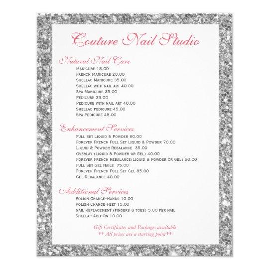 White Glitter Print Nails Menu List 11.5 Cm